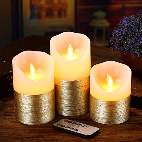 Flameless Candles LED Candles Set of 3 Ivory Real Wax Gold Trim Pillar Battery Operated Candles with Dancing LED Flame 10-Key Remote and Cycling 24 Hours Timer