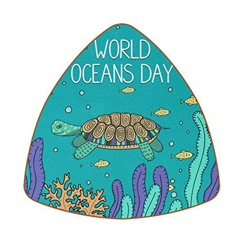 World Oceans Day Turtle and Fish Juego de 6 Posavasos para Bebidas...