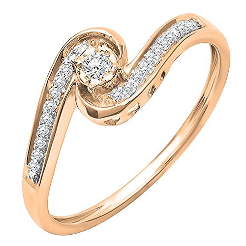 Dazzlingrock Collection Anillo de compromiso de 0,15 quilates de diamante blanco redondo para mujer con giro moderno y elegante, oro rosa de 14 quilates, talla 7,5
