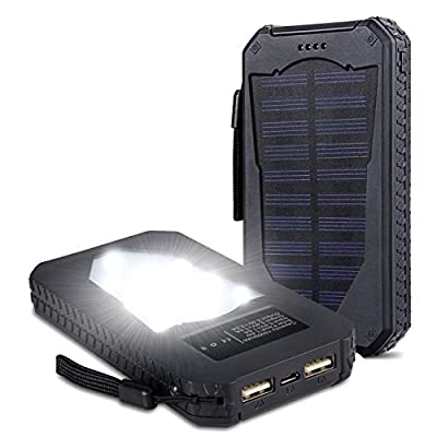 Foreverrise Solar Charger 15000mAh High Capacity Solar Panel Power Bank Portable Battery Pack Bright LED lights Dual USB Solar Battery Charger for Cell Phone,Tablet and othersUSB Devices(Black)