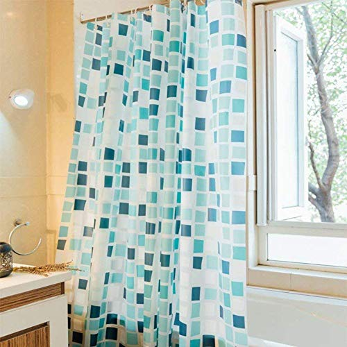 HXR Mozaïek douchegordijn verdikking waterdicht meeldrogend douchegordijn blokkering separator CurtainBlue vierkante badkuip gordijn-B