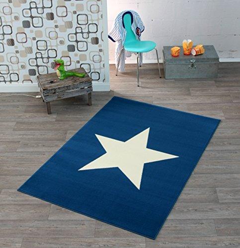HANSE Home Design Velours Stern Dunkelblau 140x200 cm Teppich, Polypropylen, blau Creme, 140 x 200 x 0.9 cm