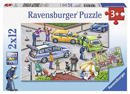 Ravensburger Kinderpuzzle 07578 - Mit Blaulicht unterwegs - 2 x 12 Teile