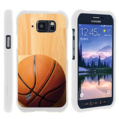 Compatible with Samsung Galaxy S6 Active Case   G890 [Slim Duo] Fitted 2 Piece Hard Snap On Case on White Sports and Games by TurtleArmor - Hardwood Basketball