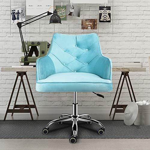 Boomersun Home Office Velvet Chair, Adjustable Swivel Accent Chair with Metal Base, Modern Mid-Back Task Chair for Living Room, Bedroom, Office (Tiffany Blue)