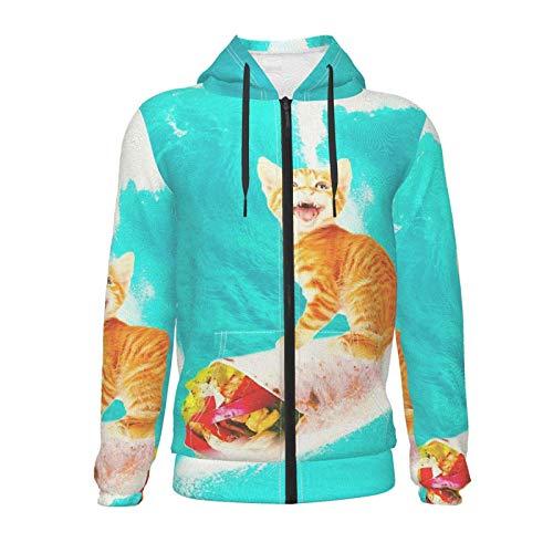 Inaayayi Kitty Cat Surfing Burrito Divertidas tablas de surf adolescentes niños niñas manga larga suéter sudaderas con capucha con bolsillo 7-20 años