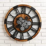 Glitzhome 26.7' D Large Decorative Wall Clock with Roman Numerals, Wooden/Metal Vintage Industrial Oversized Rustic Battery Operated Clocks with Moving Gears for Home Office School