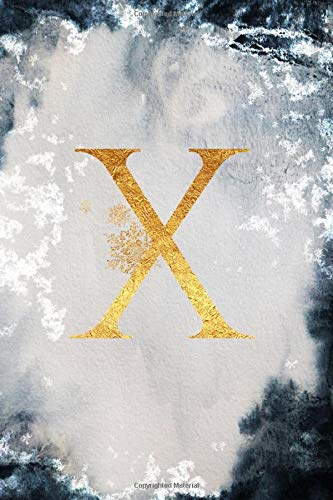 X: Personalized Monogram First Initial X Lined Notebook (Winter Frost)