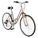 Retrospec Barron Comfort Hybrid Bike 21-Speed Step-Through with Front Suspension and 700c Wheels with Multi-Surface Tires