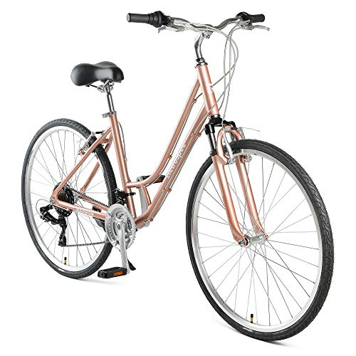 "Retrospec Barron Comfort Hybrid Bike 21-Speed ​​Step-Through dengan Suspensi Depan dan Roda 700c dengan Ban Multi-Permukaan; 18 ""Sedang, Mauve (3453)"