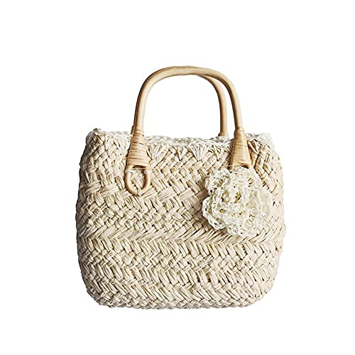 KKLLHSH Bolso de mano pequeño y encantador de paja, exquisito bolso de compras conasasuperior tejida en la playa, con fundas de flores13x26x18cm-2