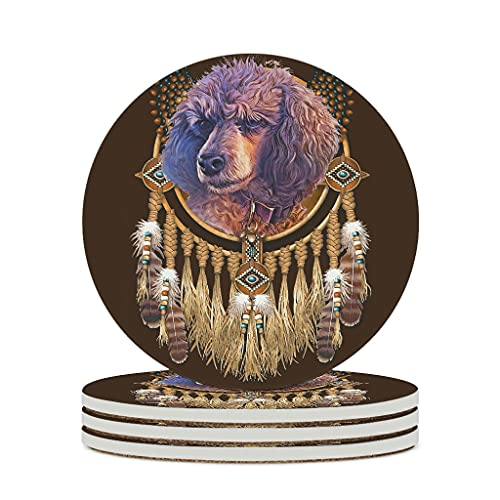 Wraill Posavasos redondos de cerámica con diseño de caniche con atrapasueños, 4 o 6 posavasos absorbentes con dorso de corcho, redondos, 10 cm, color blanco, 4 unidades