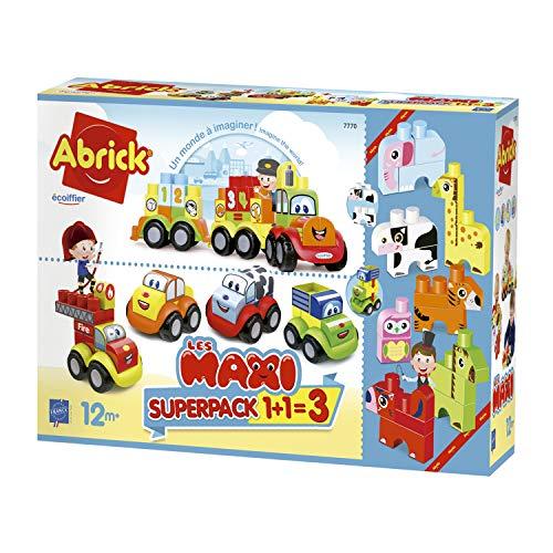 Jouets Ecoiffier -7770 - Super pack 3 en 1 Maxi Abrick – Jeu de construction pour enfants – Dès 12 mois – Fabriqué en France