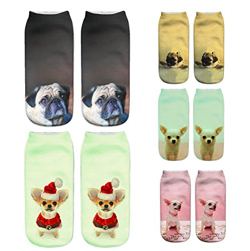 ERJO Women Girls 3D Funny Crazy Casual Socks Novelty Cartoon Ankle Socks Cute Hosiery 5 Pack Dog SC3