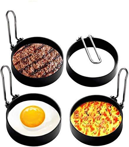 Anneaux D oeuf Antiadhésifs,Sucastle Anneaux à œufs en Acier Inoxydable,4pcs Anneaux à œufs Antiadhésifs Avec Poignées Pliantes,Oeuf au Plat Moule Pour Muffins Aux œufs,Crêpes,Omelettes