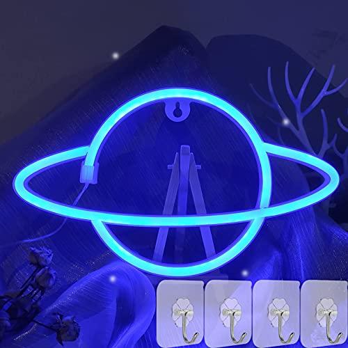 YIVIYAR Planet Leuchtreklame LED Neonlicht Deko für Schlafzimmer, USB/Batterie Planet Leuchtschilder Dekoration LED Nachtlampe für Zimmer Wand Dekor Schlafzimmer Party Supply Geschenk Bar(Blue Planet)