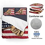 SHINICHISTAR American Flag Baseball Comforter Set for Boys Sports Bedding Queen Size