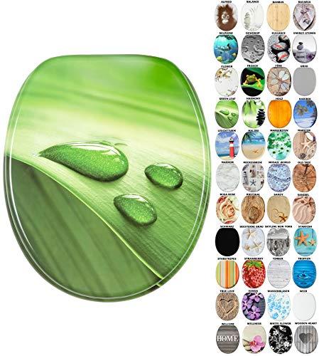 Sanilo WC-Sitz mit Absenkautomatik I Hochwertiger Toilettensitz aus Holz I Toilettendeckel in verschiedenen Motiven (Green Leaf)