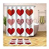 Beydodo Badematte 2 Teilig Set Duschvorhang 180x200, Rot Herz mit Blumenmuster Badematten Dusche rutschfest 40x60 cm