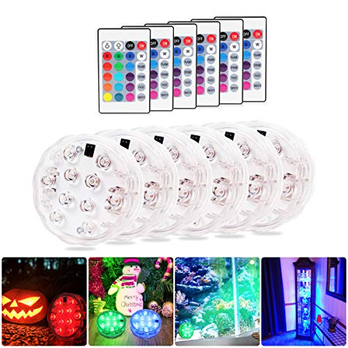 Submersible Led Lights with Remote,Pack of 6,2020 Underwater Led Lights - Waterproof Light Pad - Led Lights Battery Operated - Aquarium Lights Decorations - Fountain,Pond Lights -6 Remote Controls