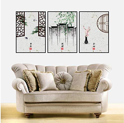 Chinese Stijl Vogels Stately Hek Wilg Perzik Bloesem Canvas Schilderen Posters En Prints Muurfoto's Voor Woonkamer Decor 50x75cmx3pcs frameless