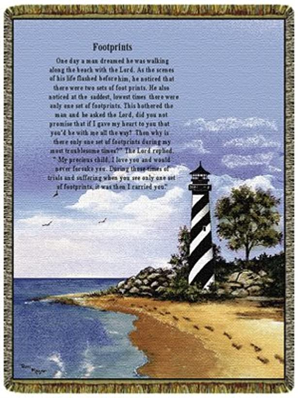 Simply Home Lighthouse Footprints 50″ x 70″ Tapestry Throw Blanket USA Made SKU 10149
