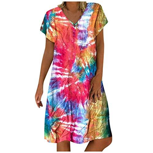 Vectry Damen Sukienka do kolan, oversize, kolorowa sukienka na czas wolny, krótka sukienka z dekoltem w serek, sukienka letnia sukienka plażowa, sukienka koktajlowa, tuniki, S-5XL, czerwony - czerwony - medium