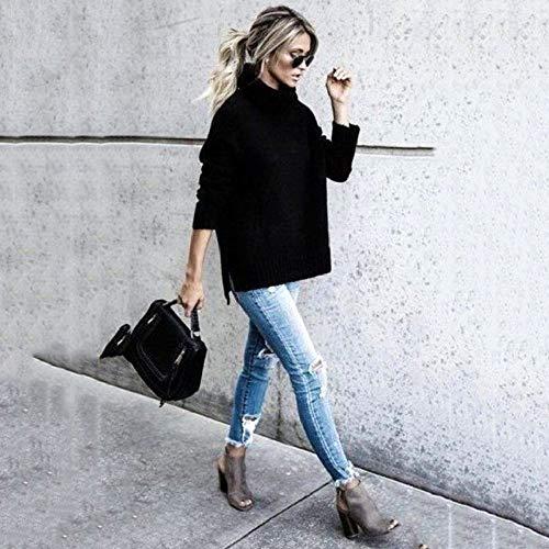 GUORUIMIN Trui Voor Vrouwen, Zwarte Winter Mode Coltrui Gebreide Trui Lange Mouwen Straat Truien Pull Femme Hiver Oversized Trui Vrouwen