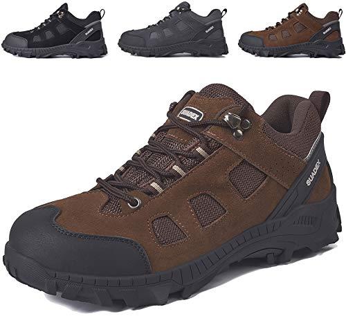 SUADEX Zapatos de seguridad para hombre, ligeros, antideslizantes, transpirables, con puntera de acero, color Marrón, talla 42 EU