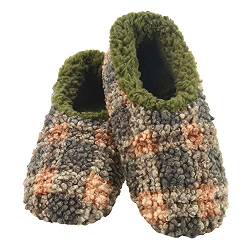 Snoozies Mens Slippers - House Slippers for Men - Boucle Plaid - Olive - Large
