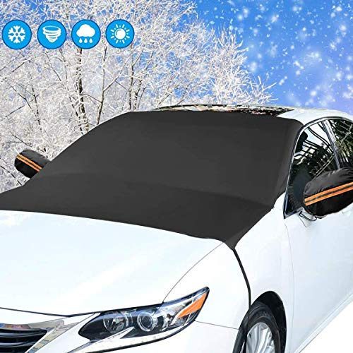 """Mumu Sugar Upgrade Version Car Windshield Snow Cover, Extra Large 87""""x 50"""" 3 Layers Material Windscreen Protection Wiper Visor Sun Shade Protector for Most Vehicles Cars Trucks Vans and SUVs"""