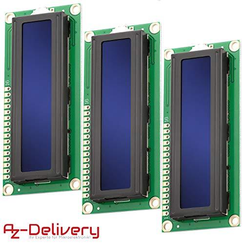 AZDelivery 3 x HD44780 1602 LCD Modul Blau Display 2x16 Zeichen kompatibel mit Arduino inklusive E-Book!