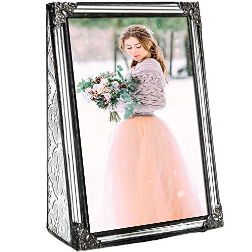 4x6 Picture Frame Clear Glass Wedding Photo Frame Family Anniversary Baby Keepsake Gift Vintage Home D