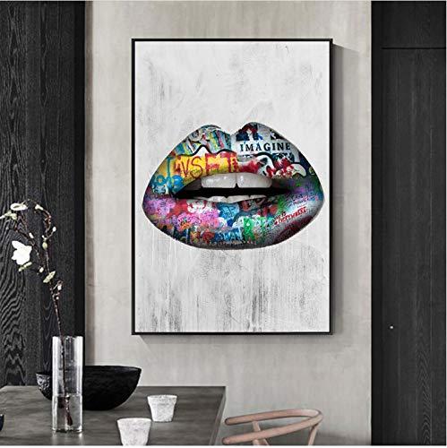 Hao Sai's shop Resumen Sexy Labios Pared Arte Pinturas Impresión En Lienzo Carteles E Impresiones Graffiti Arte Lienzo Impresiones Pop Art Cuadros Decoración del Hogar 40X50Cm Sin Marco