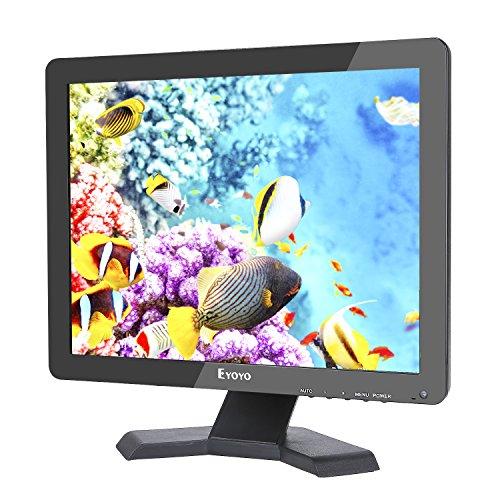 Eyoyo Moniteur 15 Pouces Écran TFT LED 4:3 Ultra-Mince Moniteur Vidéo HD de Surveillance Résolution 1024x768 Support TV/VGA/USB/HDMI/BNC Télécommande (15 Pouces 1024X768)