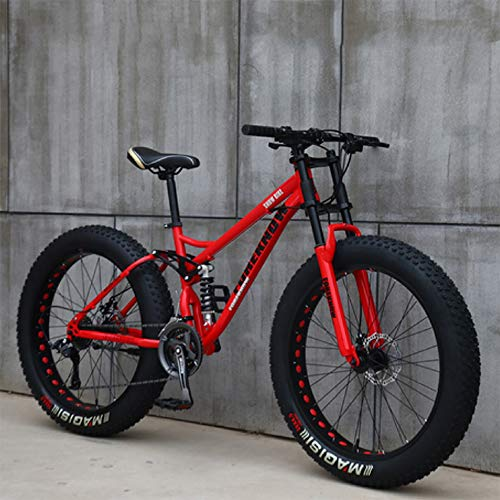 NENGGE Mountain Bikes, 26 Inch Fat Tire Hardtail Mountain Bike, Dual Suspension Frame and Suspension Fork All Terrain Mountain Bike,21 Speed,Red Spoke