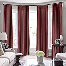 Drapifytex 200 Wide Blackout Panel Window Drape, Thermal Insulated Pinch Pleated Room Darkening Curtain for Bedroom, W200 x L100 Inch, Burgundy Curtain