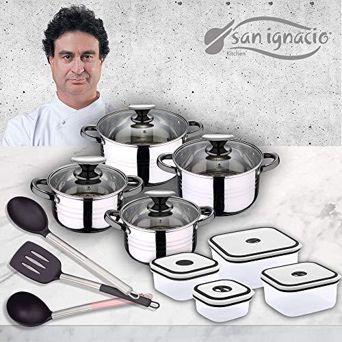 San Ignacio Premium - Batteria 8 pezzi + 4 contenitori + 3 utensili, acciaio inox, rame