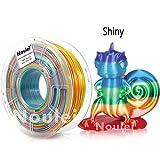 Noulei Silk PLA Filament, Shiny Rainbow Multicolor, Splendid 3D Drucker Filament 1.75mm, 1 kg Spool