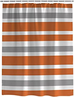 Cloud Dream Home Grey,Orange,White Striped Shower Curtain,Waterproof Polyester Fabric Bath Curtain Design 72x72-Inch Geometric Grey,Orange,White Striped