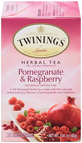 Twinings Herbal Tea, Pomegranate & Raspberry, 20 Count Bagged Tea (6 Pack)