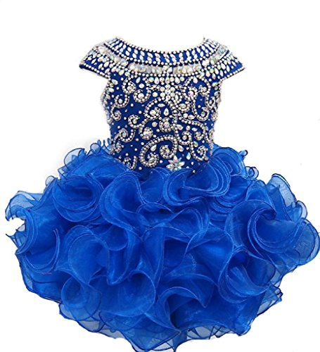 Weiai Toddler Girls' Ruffles Beaded Short Cupcake Pageant Dresses 3/3T US Royal Blue