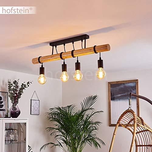 Lámpara de techo Yaak vintage, de metal en negro y madera, altura máx. 77,5 cm (ajustable), 4 bombillas E27 máx. 60 W, cabezales de lámpara ajustables individualmente, apta para bombillas LED