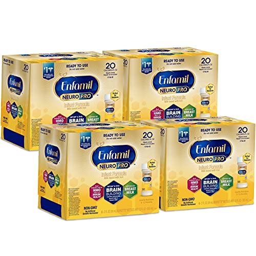 Enfamil NeuroPro Ready-to-Use Baby Formula, Ready to Feed, Brain and Immune Support with DHA, Iron and Prebiotics, Non-GMO, 2 Fl Oz Nursette Bottles (6 count) (Pack of 4), Total 24 bottles