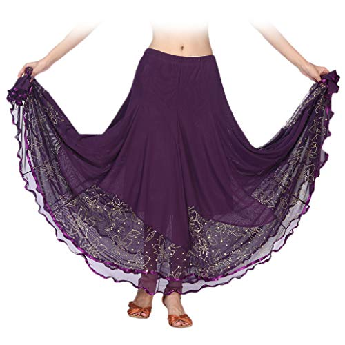 Falda de Baile Flamenco Bordado Floral con Lentejuelas Ropas de Disfraces para Fiesta Playa Verano - Púrpura, como se describe