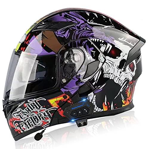 Casco Bluetooth para motocross, abatible hacia arriba, antivaho, impermeable, de cara completa, doble visera, frontal modular, para motocicleta, MTB, casco antiniebla, ECE/DOT E,XL=60-61CM