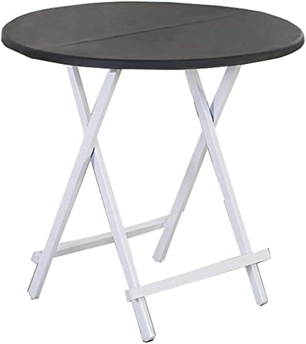 NJLC Table Jardin, Table Ronde en Plastique De MéNage Table Pliante Table Multifonctionnelle Simple Table Pliable,noir,70×70×74cm