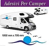 Sardegna Serviceset-Aufkleber für Wohnmobil, Van, Wellen- und Möwen-Design, 2 Stück 150 x 40cm, Zubehör/Aufkleber