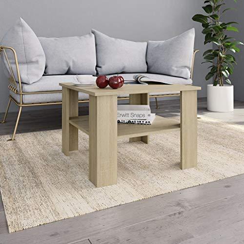 vidaXL Couchtisch 1 Ablagefach Beistelltisch Wohnzimmertisch Kaffeetisch Sofatisch Tisch Telefontisch Sonoma-Eiche 60x60x42cm Spanplatte