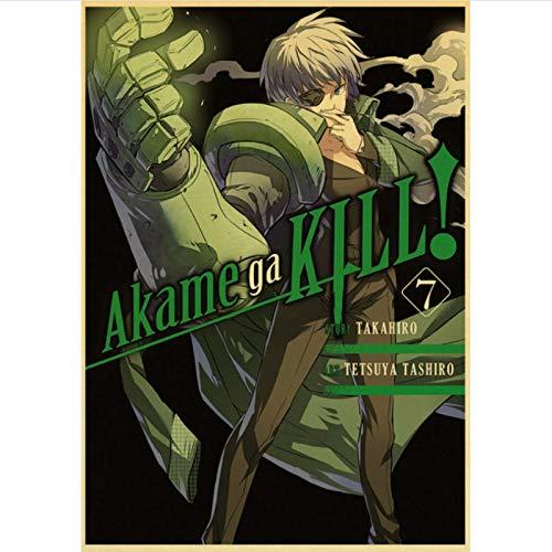 yitiantulong Impresión En Lienzo Anime Japonés Akame Ga Kill Cartel Retro Pintura Cartel De Pared Cartel De Arte Moderno para El Hogar/Habitación/Decoración De Bar R-702 (50X70Cm) Sin Marco